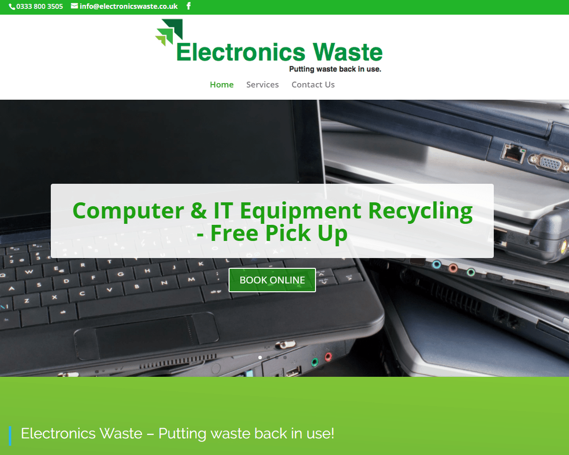 Website Design for Electronics Waster Ltd Glasgow