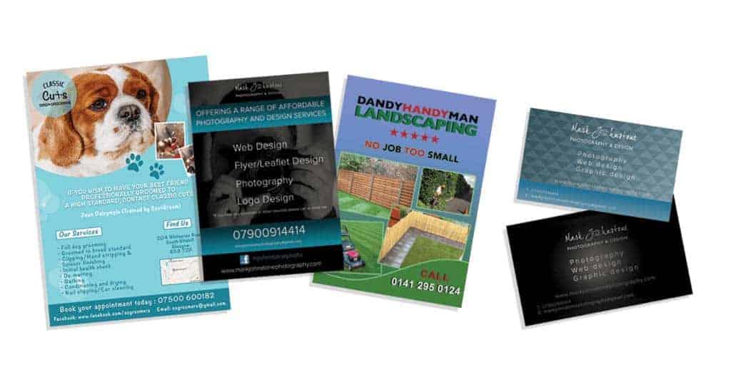 Examples of flyer design Glasgow Mark Johnstone Photography & Design